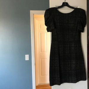 Tibi black/grey puff sleeve dress